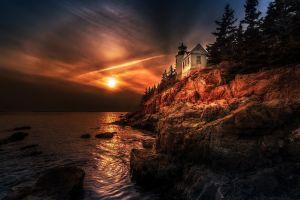 coast maine sunset hdr sea nature lighthouse sky halo rock trees landscape