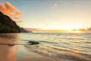 coast sea landscape horizon sunrise beach