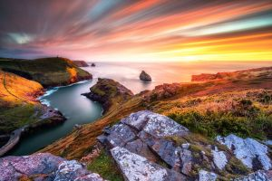 coast sea sunset landscape hills long exposure motion blur