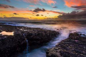 coast sunlight nature sea
