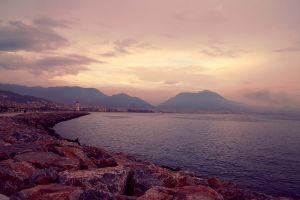 coast turkey landscape city mountains sea