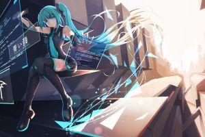 code interfaces blue eyes computer blue hair anime girls hatsune miku long hair thigh-highs twintails vocaloid cyan hair