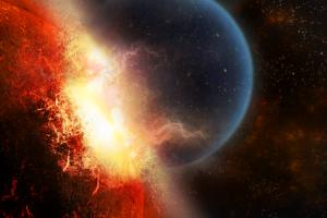 collision planet space art