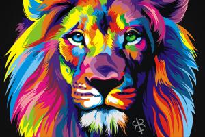 colorful animals digital art lion