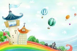 colorful artwork fantasy art hot air balloons