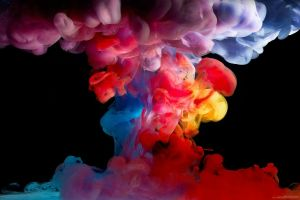 colorful black background smoke digital art simple background paint in water