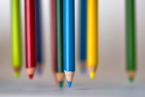 colorful blue pencils blurred