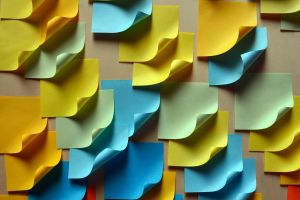 colorful blue yellow post-it notes