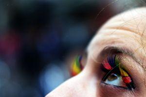 colorful blurred looking up macro closeup eyes