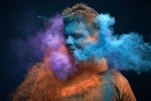 colorful men dust smoke
