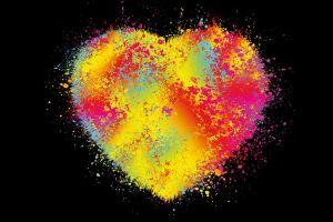 colorful minimalism dots digital art heart paint splatter black background