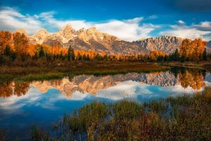 colorful nature clouds water river landscape morning grand teton national park mountains fall forest reflection