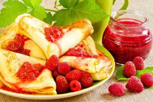 colorful raspberries fruit jam crepes food breakfast pancakes