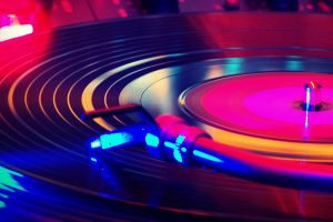 colorful record players turntables vinyl music
