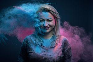 colorful smoke dust women