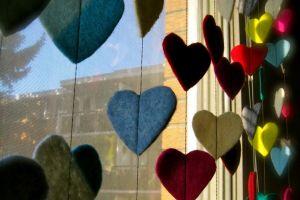 colorful window heart indoors