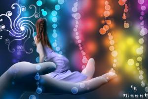 colorful women digital art hands