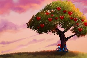 computer apples pegboard nerds fruit sky trees monstercat