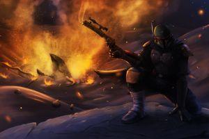 concept art artwork star wars science fiction boba fett bounty hunter