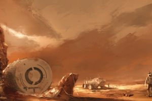 concept art space planet artwork astronaut