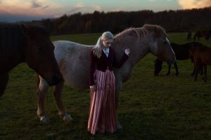 costumes women horse women outdoors suits blonde pink skirt ponytail long skirt closed eyes women with horse