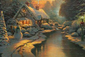 cottage christmas snowman winter thomas kinkade christmas tree painting stream postcard
