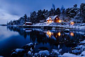 cottage nature nordic landscapes winter dusk