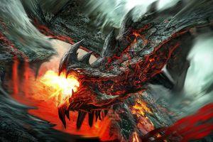 creature fire dragon fantasy art