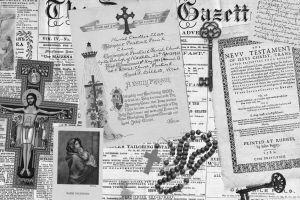 cross keys holy rosary jesus christ monochrome