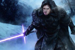 crossover lightsaber game of thrones fantasy art jon snow star wars artwork
