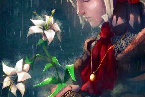 crying doll rain women flowers