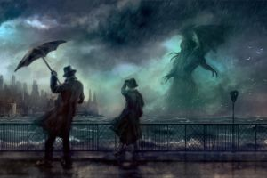 cthulhu dark artwork clouds storm cityscape horror