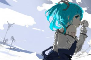 cup gloves tattoo bangs looking back blue eyes looking at viewer twintails solo hatsune miku blue hair vocaloid cyan hair