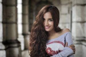 curly hair smiling model long hair face women