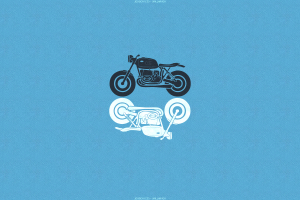 cyan background blue background motorcycle cyan minimalism