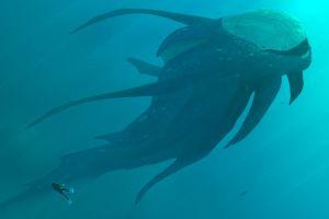 cyan blue sea artwork divers underwater turquoise sea monsters