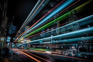 cyan city lights night england london street light light trails city