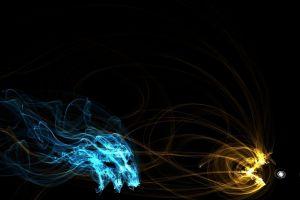 cyan ghosts pac-man  digital art cgi glowing abstract simple video games dots light trails pacman yellow fan art black background