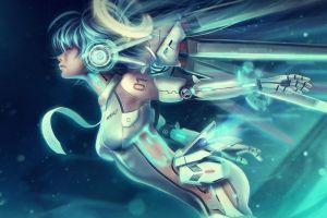 cyberpunk cyan hair futuristic blue hair