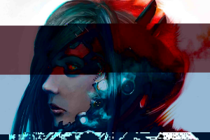 cyberpunk cyborg glitch art