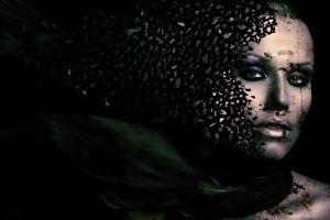 dark digital art women face artwork