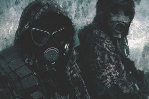 dark gas masks artwork soldier