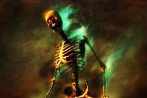 dark glowing eyes skull digital art bones skeleton glowing red eyes video games burning