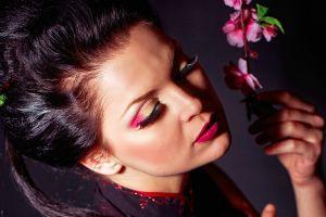 dark hair brunette eyeshadow women closeup blossoms makeup