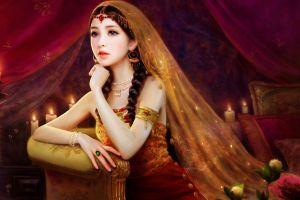 dark hair rings artwork fantasy art asian fantasy girl