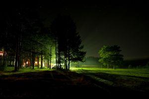 dark lights house trees night sky