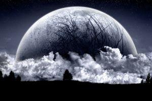 dark space sky moon clouds planet digital art