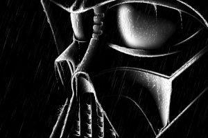 darth vader movies rain wet black