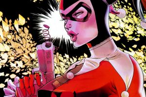 dc comics fantasy girl harley quinn batman gun