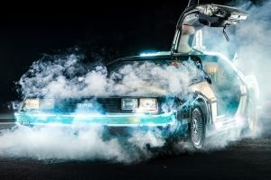 delorean black car movies cyan smoke back to the future time travel night